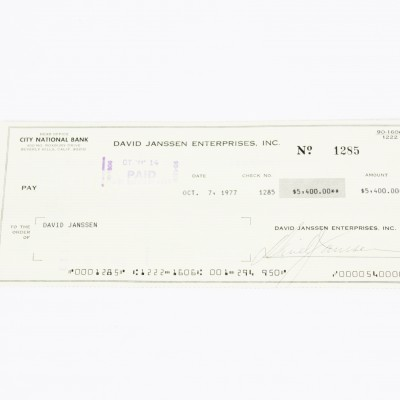 The Fugitive - David Janssen Signed Check - COA