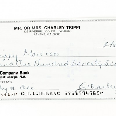 Chicago Cardinals - Charley Trippi Signed Check - COA