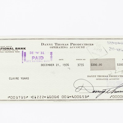 Make Room for Daddy - Danny Thomas Signed Check - COA