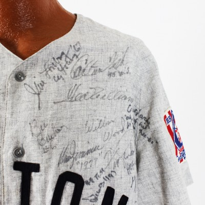 Boston Red Sox Legends - Multi-Signed Jersey 64 Sigs. Incl. Jim Rice, Carlton Fisk, Carl Yastrzemski et al.