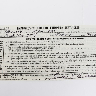 1954 Boston Red Sox - Ted Williams Full Name Signed W4 Tax Document - JSA