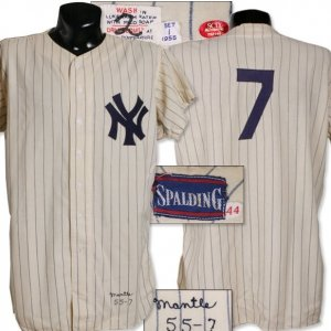 1955 Mickey Mantle New York Yankees Home Flannel Pinstripe Game Used Jersey.