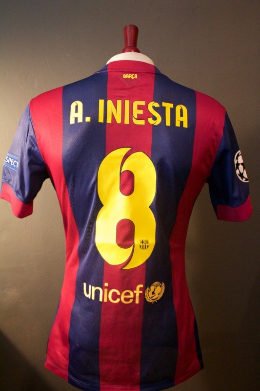 An Andres Iniesta Game-Used #8 FC Barcelona Home Shirt.  2015 UEFA Champions League Finale.  (3-1) Man of the Match.