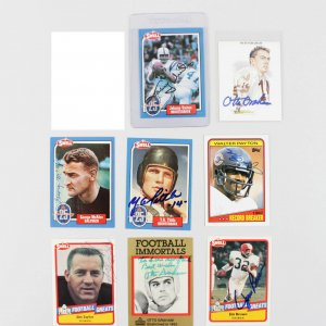 Lot of NFL Signed Football Cards -7 Sigs. Unitas, Brown, Payton & Others
