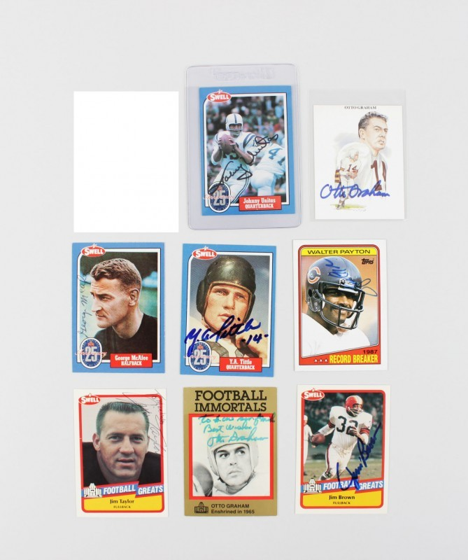 Lot of NFL Signed Football Cards -7 Sigs. Unitas, Brown, Payton & Others - JSA