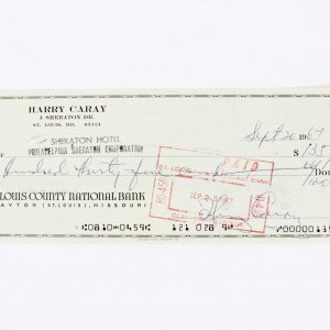 Chicago Cubs HOF Broadcaster - Harry Caray Signed Check