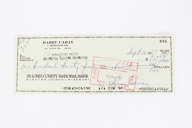 Chicago Cubs HOF Broadcaster - Harry Caray Signed Check - COA