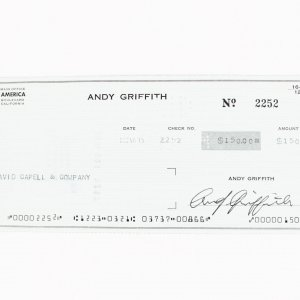 Actor - Andy Griffith Signed Check