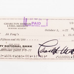 Actor - Charlton Heston Signed Check