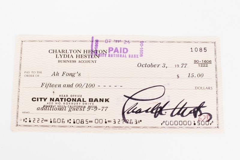 Actor - Charlton Heston Signed Check (COA)