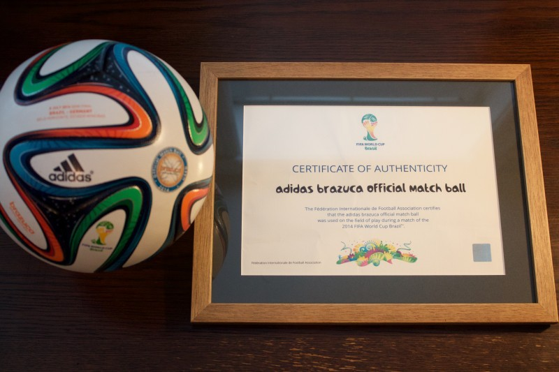 A 2014 FIFA World Cup Semi-Final Game-Used Match Ball.  July 8, 2014 Brazil v Germany (1-7).  Belo Horizonte, Brazil.