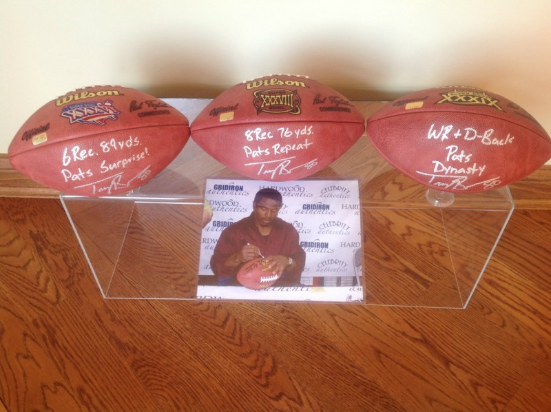 "3 Troy Brown Autographed and Special Inscription/Stats. Super Bowl 36,38 & 39 Patriots Footballs ""Dynasty Collection Set!"""