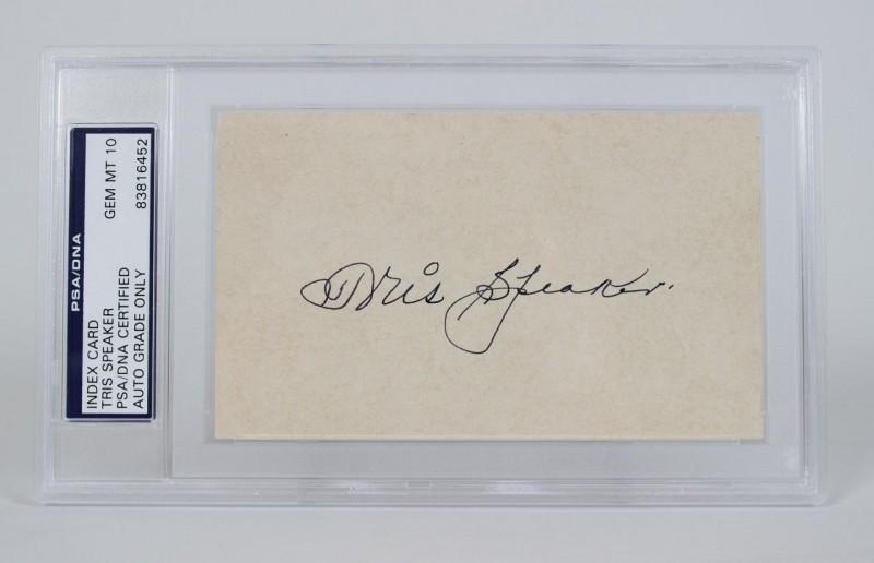Cleveland Indians - Tris Speaker Signed Index Card PSA/DNA Encapsulated Gem Mint 10