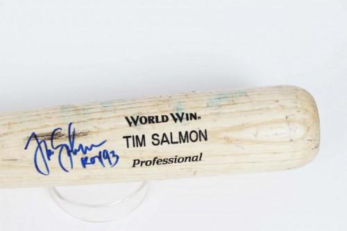 "Los Angeles / Anaheim Angels Tim Samon Signed & Inscribed ""ROY 93"" Game-Used Mizuno Bat"