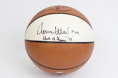 "Lakers - Jerry West Signed, Inscribed  #44 Hall Of Fame ""79"" Basketball (JSA)"