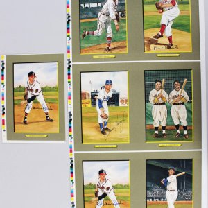 Perez Steele Signed Great Moments Un-Cut Cards- 4 Sigs. Williams, Spahn, Koufax & Roberts
