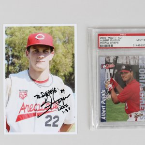 Peoria Chiefs Albert Pujols Card & 2008 Area Code Games Bryce Harper Signed 4x6 Photo