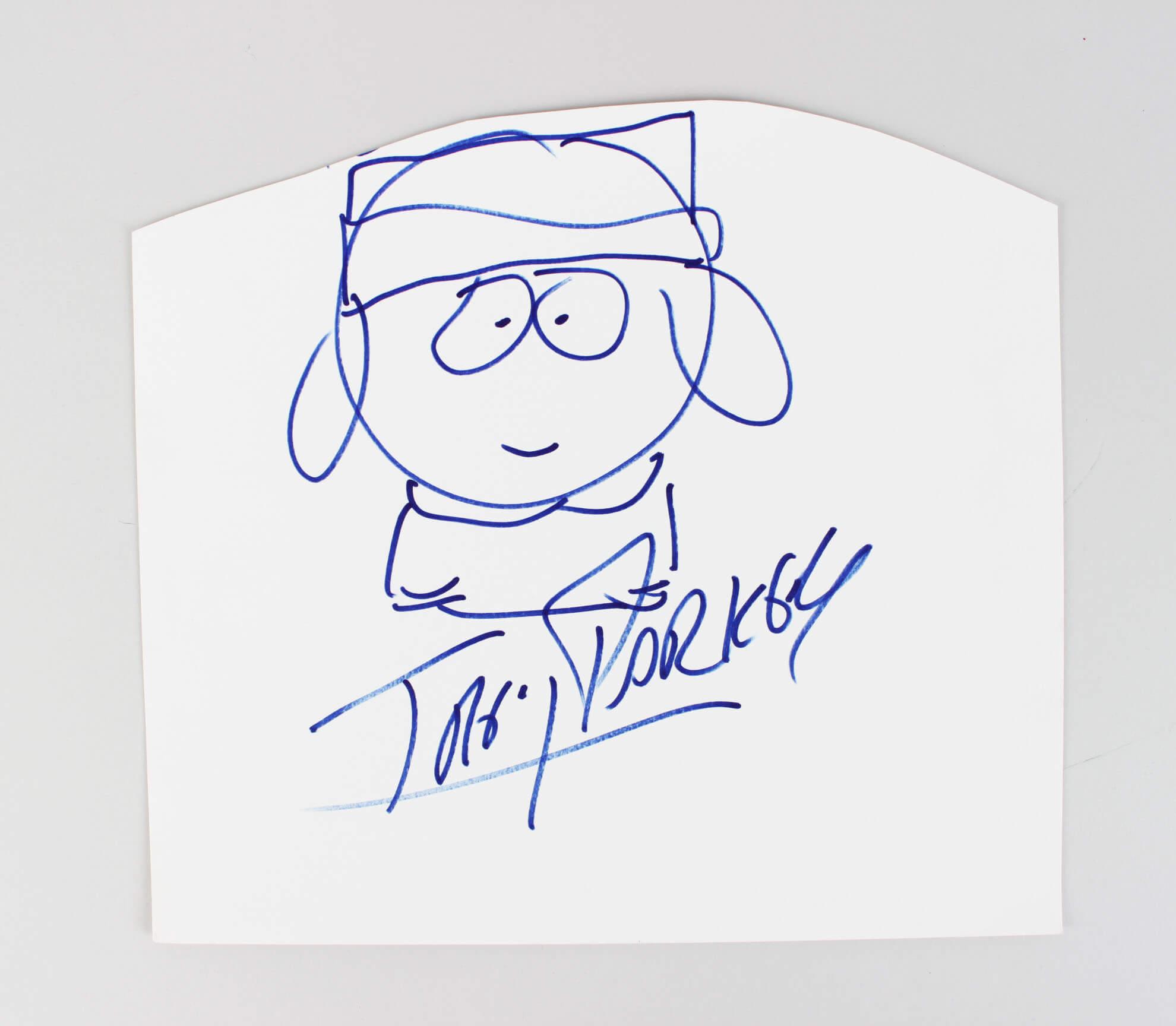 South Park - Trey Parker Signed & Hand Drawn Sketch of Kyle - COA