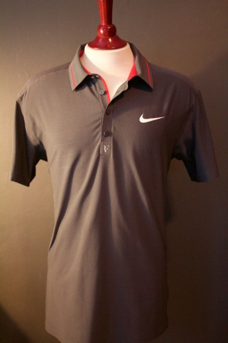 A Roger Federer Game-Used Custom Nike Tennis Shirt.  2011 US Open.  Includes Signed Promotional Card.