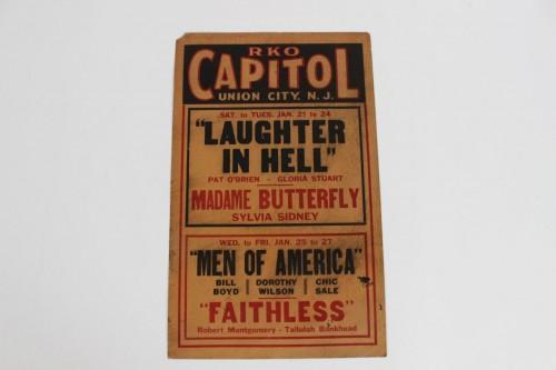 Rare Early 1933 RKO Capitol Movie Window Lobby Card Featuring Four Sensational Films