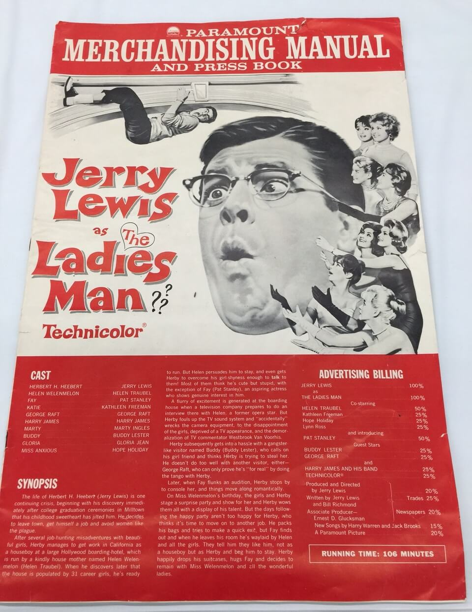Paramount Studios 1961 Press Book & Merchandising Manual for Jerry Lewis Movie