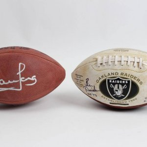 Oakland Raiders - Lot of 2 Signed Footballs - (ONL Rozelle) Howie Long & Raiders Logo Ben Davidson