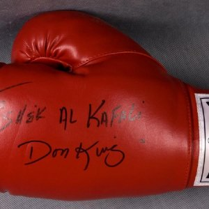 "Don King Signed Everlast Boxing Glove ""TO Sheik Al Kafali"""