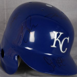 Royals Autographed Billy Butler John Buck Tony Pena & Ryan Freel baseball Helmet