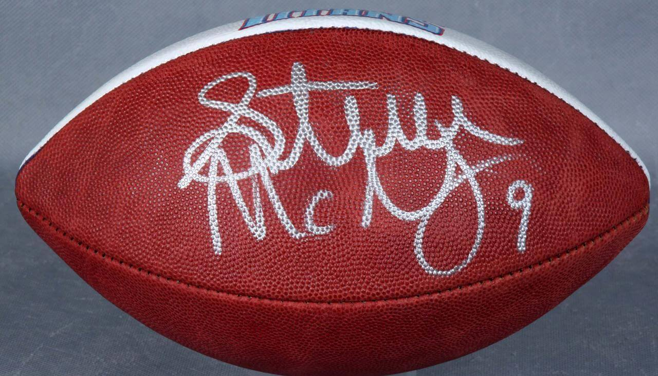 official photos 1b719 08bb1 Tennessee Titans - Steve McNair Signed, Hand-Painted Football (JSA)