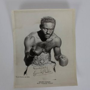 "Rare ""Best Wishes Sincerely Ezzard Charles"" Signed 8x10 Photo From Ring Magazine Writers Collection"