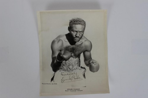 Rare! Ezzard Charles Signed & Inscribed 8x10 Photo - JSA Full LOA
