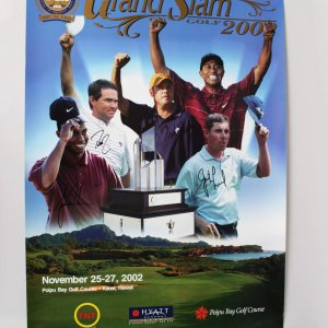 2002 PGA Grand Slam Golf Tournament Poster Signed by Tiger Woods, Justin Leonard, Rich Beem & Davis Love III
