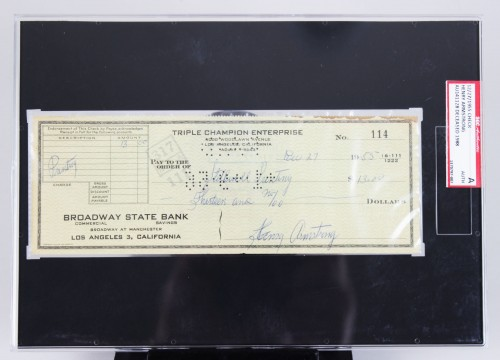 Boxing Great - Henry Armstrong Signed Check