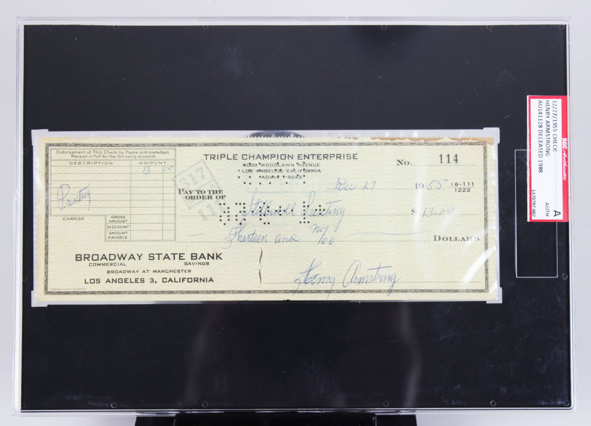 Henry Armstrong Signed Check Boxing - SGC