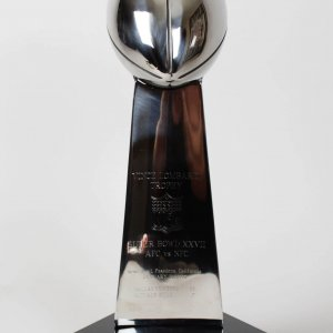 Super Bowl XXVII Replica Trophy Signed Troy Aikman - Dallas Cowboys vs. Buffalo Bills-