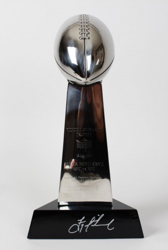 Super Bowl XXVII Replica Trophy Signed Troy Aikman-Cowboys vs.Bills- (PSA)