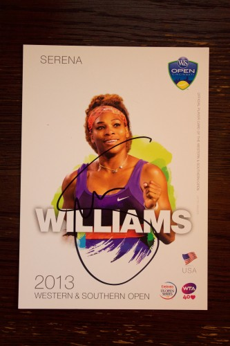 A Serena Williams Signed 2013 WTA Western & Southern Open Official Tournament Postcard.