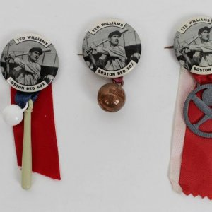 "1950's PM10 Baseball Pin/Button/Coin Ted Williams ""Boston Red Sox"" with Charm v2"
