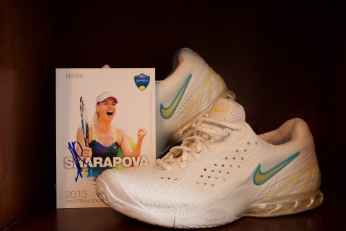A Pair of Maria Sharapova Game-Used & Personalized Custom Nike Tennis Shoes.  2005 Australian Open.  Includes Signed Promo Card.
