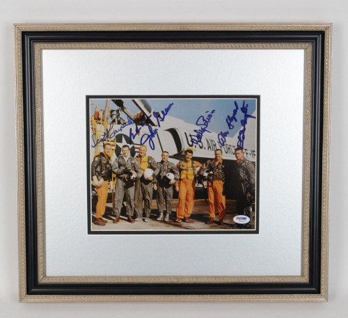 1959 NASA Original Mercury Seven Astronauts Signed 8x10 Photo Display 6 Sigs. Incl. John Glenn, Scott Carpenter, Gordon Cooper, Wally Schirra, Alan Shepard & Deke Slayton (PSA/DNA Full LOA)