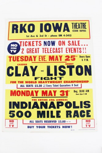 May 31, 1965 - Cassius Clay vs. Sonny Liston RKO Iowa Fight Poster (22x28)