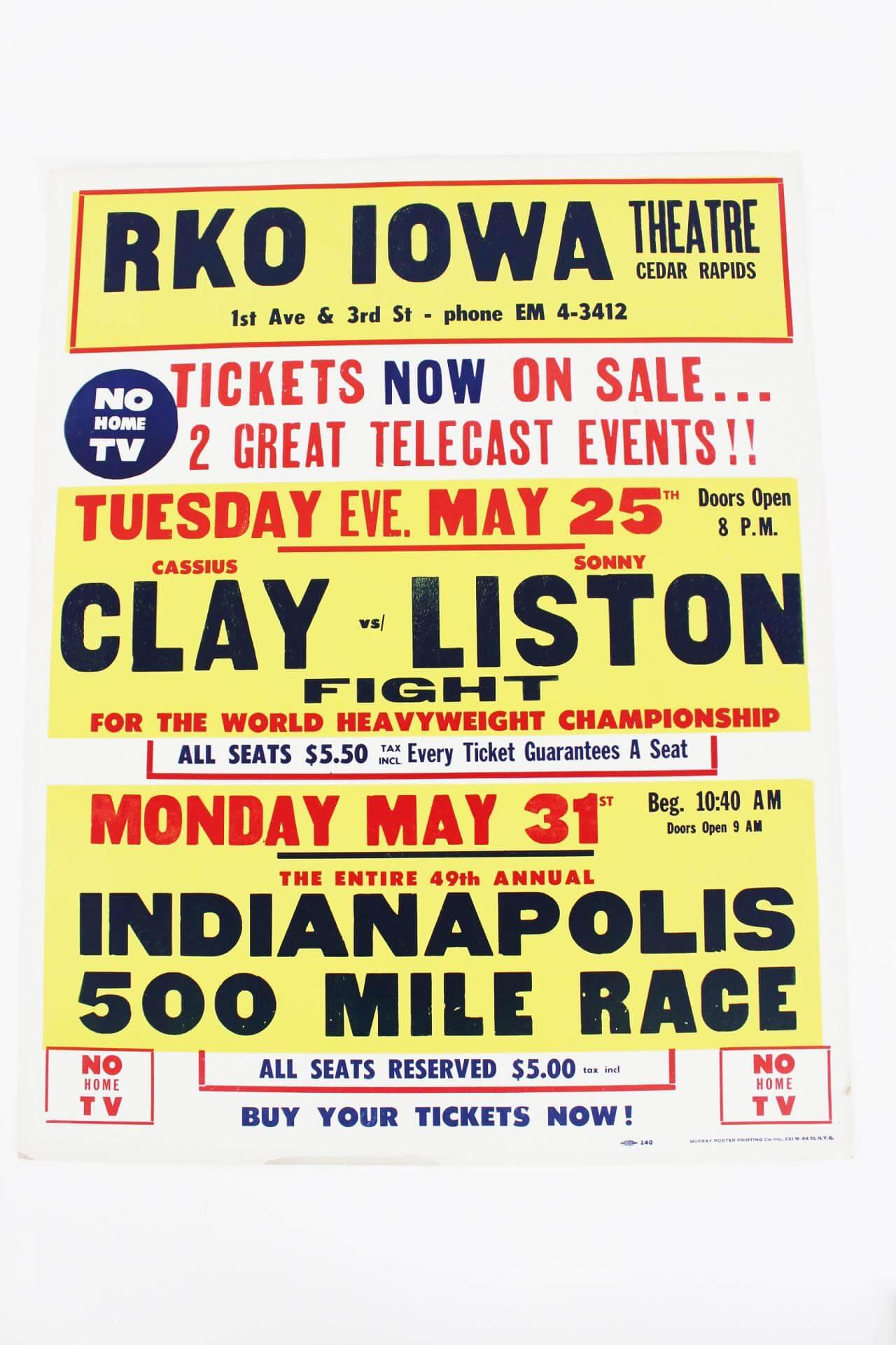 Cassius Clay Sonny Liston Repro Door Poster program