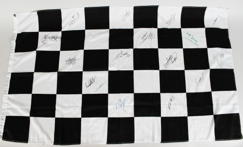 Indy 500 Signed Flag 17 Sigs. Incl. Mario Andretti, John Rutherford, Helio Castroveves etc.