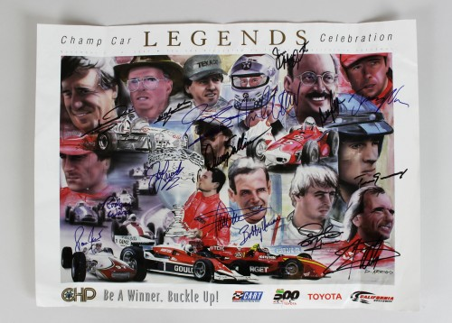 2001 Indy 500 Champ Car Legends Celebration Signed 18x24 Poster 16 Sigs. Incl. Mario Andretti, Bobby Unser etc.