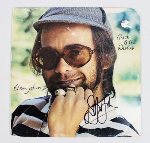 SB **Elton John- Rock of the Westies Album Cover & Peter Cetera Chicago Album Signed (JSA)