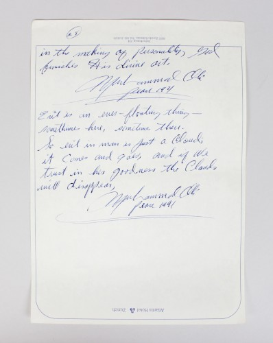1971 Muhammad Ali Handwritten, Dated Poem Quotations (During Zurich Fight Era vs. Jugen Blin)