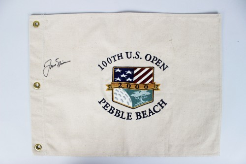 SB **2000 100th U.S. Open Pebble Beach Flag (Third Tiger Woods Major Victory) Signed by PGA Legend Jack Nicklaus