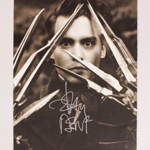 Edward Scissorhands Johnny Depp Signed 12x15 Sepia Photo