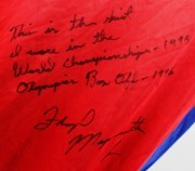 """1996 Olympics - World Championship Box Off - Floyd Mayweather, Jr. Fight-Worn Adidas USA Shirt - Signed & Inscribed """"This Is The Shirt I Wore In The World Championship - 1995 Champion Box Off"""""""