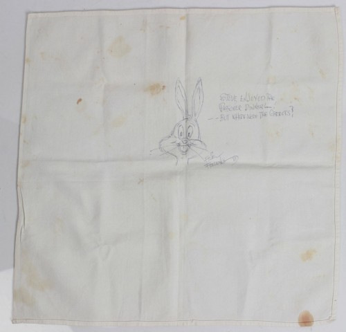 1981 Friz Freleng Sketched Bugs Bunny on His Personal Friars Club Napkin (COA)